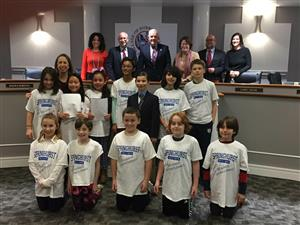 Springhurst Student Government representatives presented at the Dobbs Ferry Board of Trustees meeting